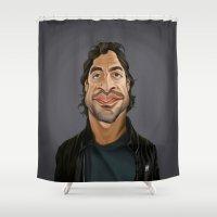celebrity Shower Curtains featuring Celebrity Sunday ~ Javier Bardem by rob art | illustration