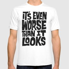 Even Worse SMALL White Mens Fitted Tee