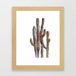 Cactus in green and pink Framed Art Print