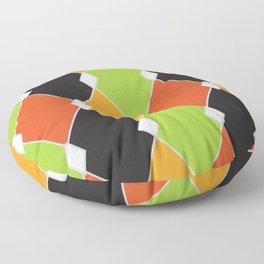 Orange, green and black jester diamonds Floor Pillow