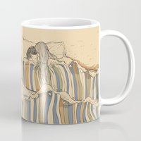 lines Mugs featuring Ocean of love by Huebucket
