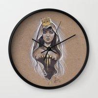 queen Wall Clocks featuring Queen by Bea González
