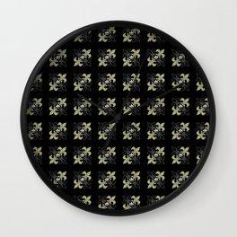 Fleur de lis ...gold, black, white Wall Clock