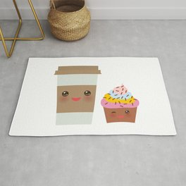 coffee in Paper thermo cup with brown cap and cup holder, chocolate cupcake. Kawaii Rug