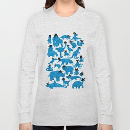 Blue Animals Black Hats Long Sleeve T-shirt
