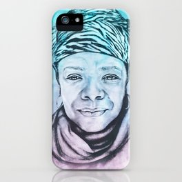 Maya Angelou Portrait on Blue and Pink iPhone Case