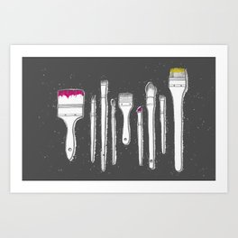 Paintbrushes with bright paint Art Print