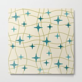 Mid Century Modern Cosmic Star Pattern 693 Cream Turquoise Olive Metal Print