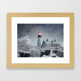 New England Winter Lighthouse Framed Art Print