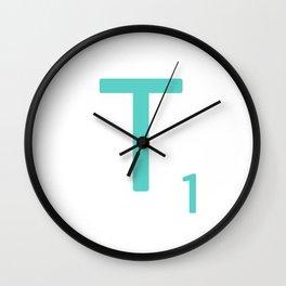 Aqua Letter T Art Scrabble Tiles Wall Clock