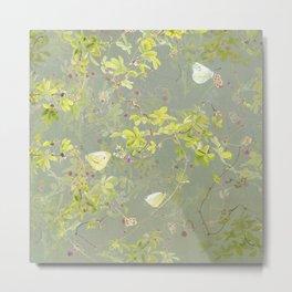 Akebia and green-veined white Metal Print