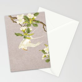 Pear blossoms and white swallow Type C: Minhwa-Korean traditional/folk art Stationery Cards