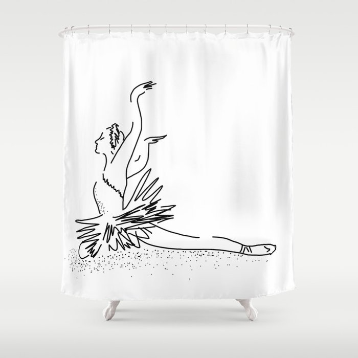 WHITE Swan Dance Shower Curtain By Vickonskey