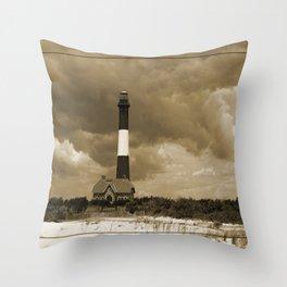 Fire Island Light In Sepia Throw Pillow