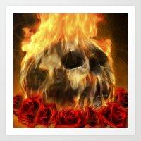 skull, roses and fire Art Print