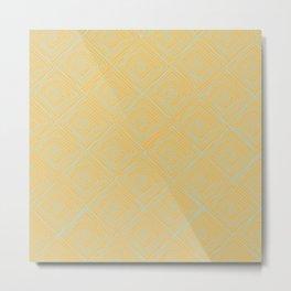 Squiggle Square Pattern Tangerine Metal Print