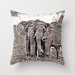 Rustic Style - Elephants Throw Pillow
