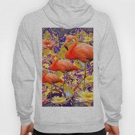 Tropical Flamingos & Peach-Yellow Water Lilies Hoody