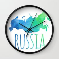 russia Wall Clocks featuring Russia by Stephanie Wittenburg