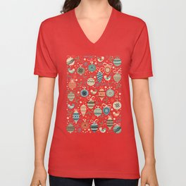 Festive Folk Charms Unisex V-Neck