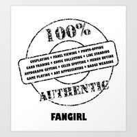 fangirl Art Prints featuring Authentic Fangirl by Off The Path Creative