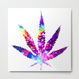 Cosmic Cannabis leaf galaxy Metal Print