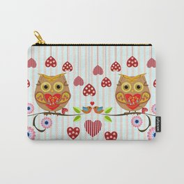 Valentine's day owl with hearts Carry-All Pouch