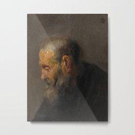 Study of an Old Man in Profile Metal Print