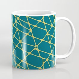Dark Yellow Abstract Mosaic Pattern 2 on Tropical Dark Teal Inspired by Sherwin Williams 2020 Trending Color Oceanside SW6496 Coffee Mug