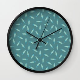 Pillow Fight on Teal Wall Clock