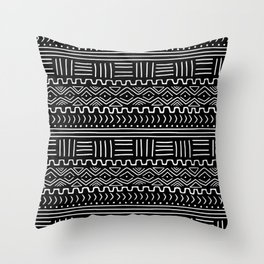 Mud Cloth on Black Throw Pillow