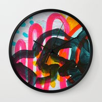 denver Wall Clocks featuring Denver Afternoon by AprilNicole