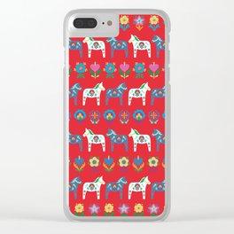 Dala Folk Red Clear iPhone Case