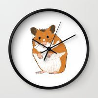 hamster Wall Clocks featuring Hamster by Chris Olson