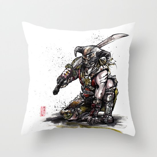Dragonborn of Skyrim Japanese sumie style Throw Pillow