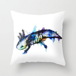 Rainbow Splash Axolotl Watercolour Throw Pillow