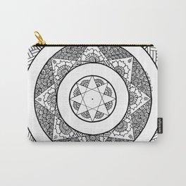 Flower Star Mandala - White Black Carry-All Pouch