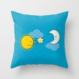 Sun and Moon - Cute Doodles Throw Pillow