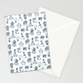 Blue Inky Cacti Stationery Cards