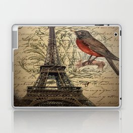 I love Paris Shabby chic Robin French Scripts Jubilee Crown Vintage Paris Eiffel Tower Laptop & iPad Skin