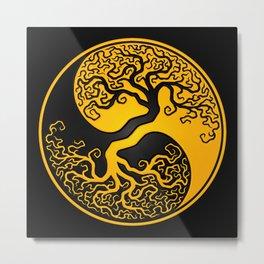 Yellow and Black Tree of Life Yin Yang Metal Print