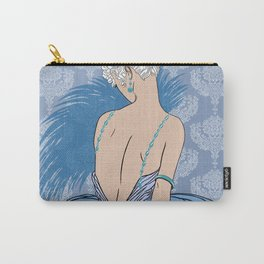 Art Deco Lady with Damask - BIANCA: Blue Monday Carry-All Pouch
