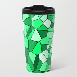 Monochrome Green Mosaic Pattern Travel Mug
