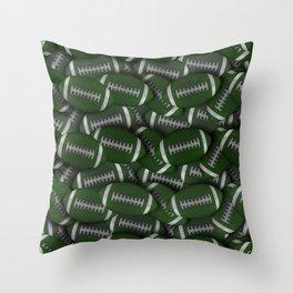 Football Field of Green Footballs Throw Pillow