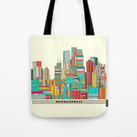 minneapolis Tote Bags featuring Minneapolis city  by bri.buckley