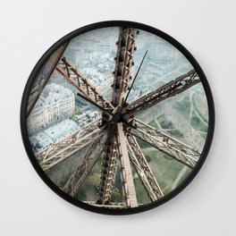 Looking Down on the Eiffel Tower Wall Clock