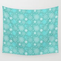 snowflake Wall Tapestries featuring Snowflake sky by itsme.emi