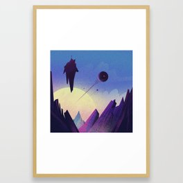 Flight over an unknown planet Framed Art Print