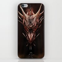 smaug iPhone & iPod Skins featuring Smaug And The Thief by Andy Fairhurst Art