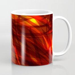 Glowing cosmic orange background made of black red metallic lines. Coffee Mug